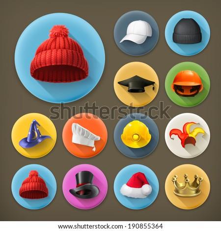 Hats, long shadow icon set - stock vector
