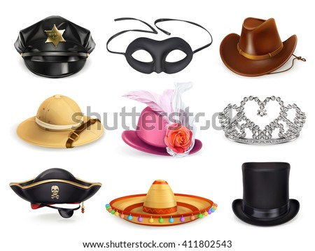 Hats set, collection of headgear, vector icons - stock vector