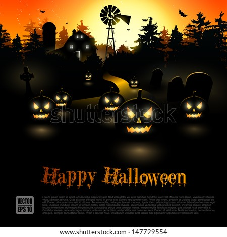 Haunted farmhouse in the woods - Halloween poster - stock vector