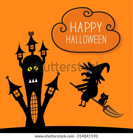 haunted house happy halloween witch and black cat silhouette cloud in the sky orange - Black Cat Silhouette Halloween