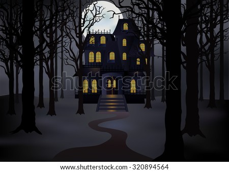 Haunted house in foggy forest in full moon. Spooky  scene. Vector illustration - stock vector