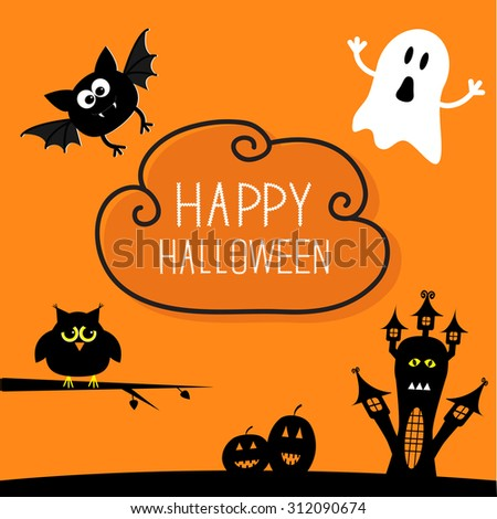 Haunted house, pumpkins, owl, bat, ghost. Cloud in the sky Halloween card. Orange background Flat design Vector illustration. - stock vector