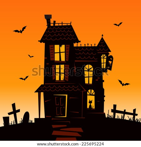 Haunted Mansion - Spooky Haunted House Vector Illustration - stock vector