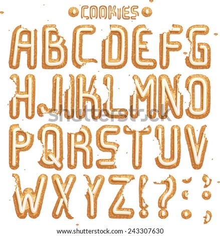 Have a Cookie font. Full ABC Part 1/2 Cream - stock vector