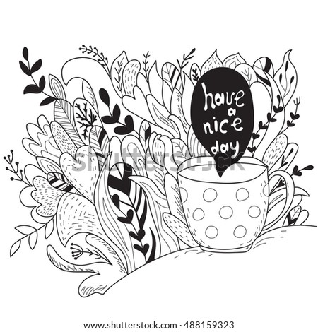 Have Nice Day Autumn Doodle Coloring Stock Vector 488159323 ...
