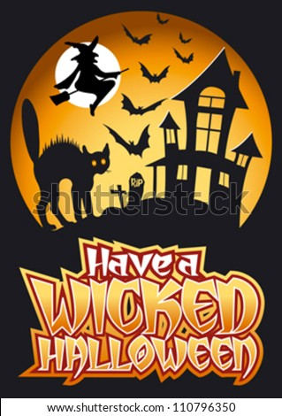 Have Happy Halloween Graphic Scary Tree Stock Vector 110234786 - Shutterstock