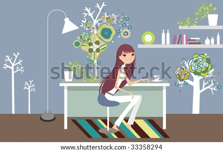 having tea break at home - stock vector