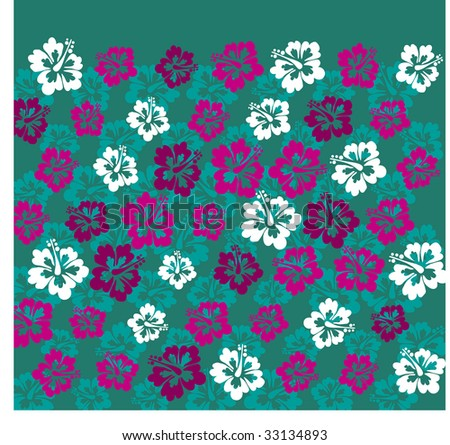 hawaii exotic flowers pattern - stock vector
