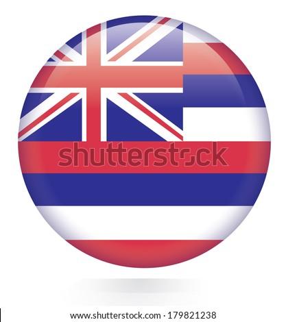 Hawaii flag button - stock vector