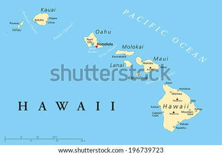 Hawaii islands political map capital honolulu stock vector hd hawaii islands political map with capital honolulu most important cities and volcanoes vector illustration gumiabroncs Choice Image