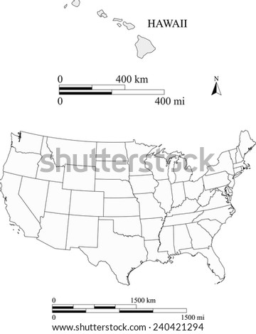 Hawaii map the scale - stock vector