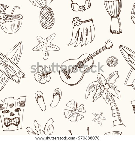 hawaii seamless pattern including hula skirt totem pole drums guitar and palm