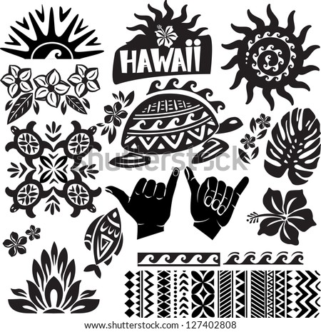 Hawaii Set in black and white - stock vector