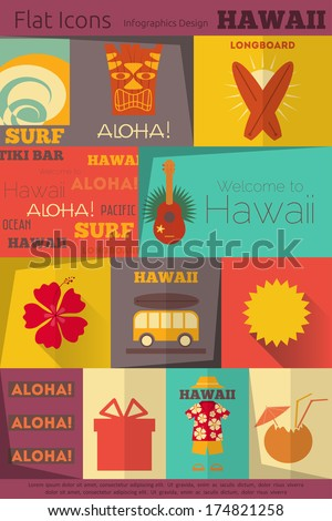 Hawaii Surf Retro Labels Collection in Flat Design Style. Mobile UI Style. Vector Illustration. - stock vector