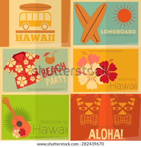 Hawaii Surf Retro Mini Posters Collection in Flat Design Style. Layered file. Vector Illustration. - stock vector