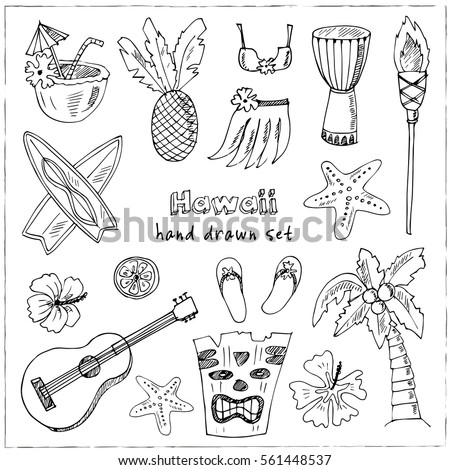 hawaii symbols and icons including hula skirt tiki gods totem pole drums