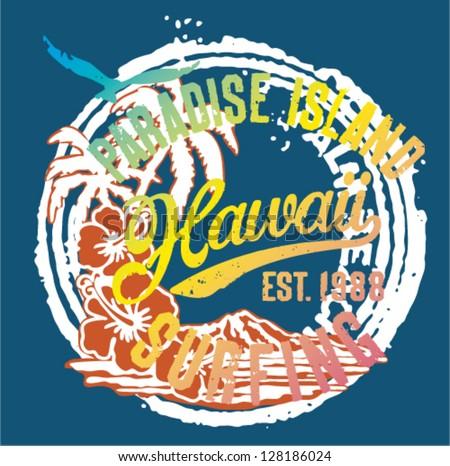 Hawaii the paradise Islands - Artwork for t shirt print in custom ...