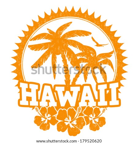 Hawaii travel rubber stamp on white, vector illustration - stock vector