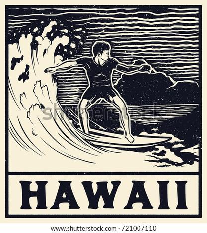 Vector illustration hawaii north shore beachvintage stock for T shirt printing hawaii
