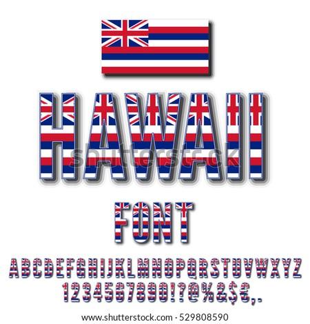 Hawaii Usa State Flag Font Alphabet Stock Vector 529808590