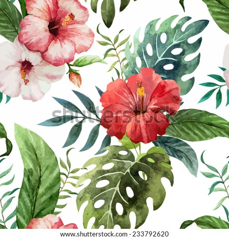 hawaii, watercolor, pattern - stock vector