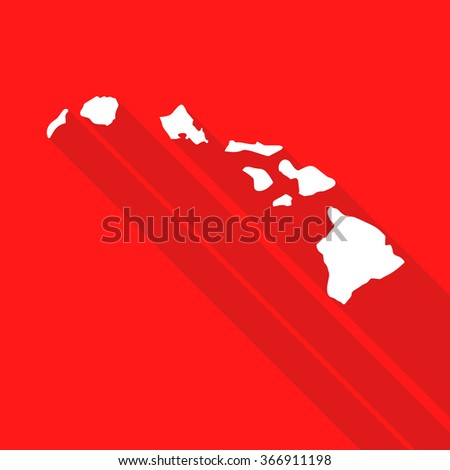 Hawaii white map,border flat simple style with long shadow on red background