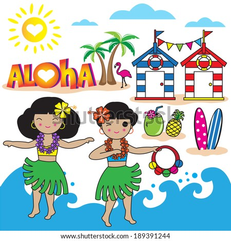 Hawaiian Aloha girls and symbol illustration - stock vector