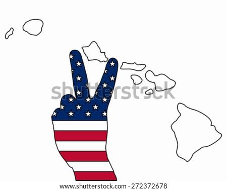 Hawaiian hand signal - stock vector