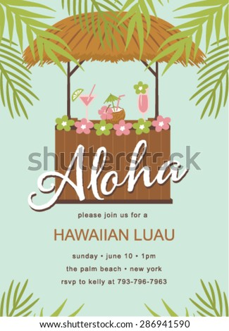 Hawaiian party template invitation stock vector hd royalty free hawaiian party template invitation stopboris Gallery