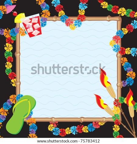Hawaiian Pool Party Invitation. Colorful leis surrounded a bamboo framed pool