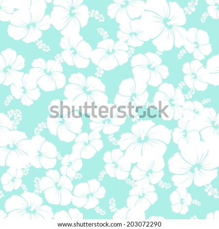 Hawaiian Seamless  Pattern with hibiscus flowers  - stock vector
