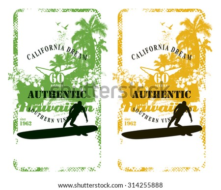 hawaiian surf background with rider and beach - stock vector