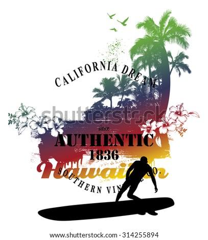 hawaiian surf scene with beach and surfer - stock vector