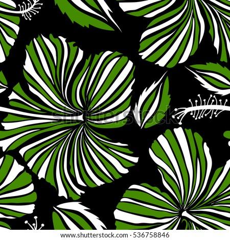 hawaiian tropical natural floral green white stock vector