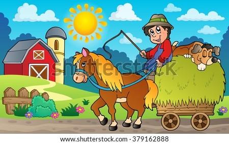 Hay cart with farmer near farm - eps10 vector illustration. - stock vector