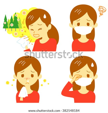 Hay fever, cedar pollen allergy, allergic symptoms, vector file - stock vector
