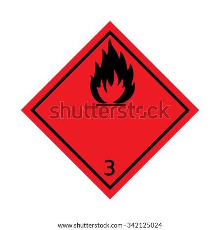 Hazard 3 Flammable Liquid Warning Sign - stock vector