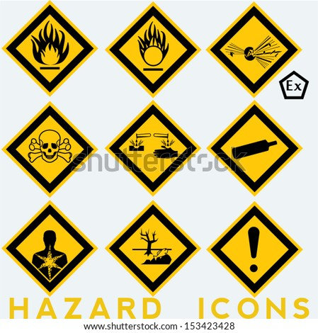 Hazard Icons: 9 + 1 package symbols. Yellow background. - stock vector