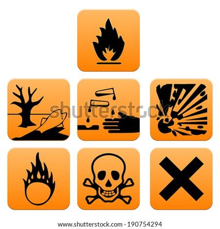 Hazard pictograms of Europe standard vector illustration - stock vector