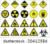 hazard signs collection vector - stock vector