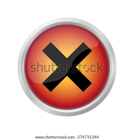 Hazard warning sign icon on red button - stock vector