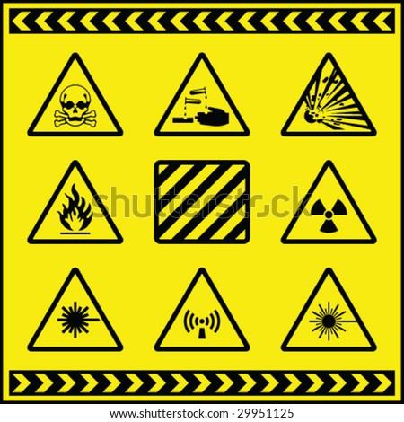 Hazard Warning Signs 5 - stock vector