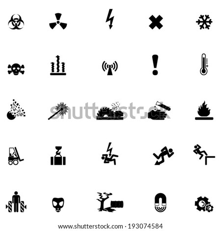 Hazard warning symbols - stock vector