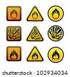 Hazard warning symbols set - stock vector