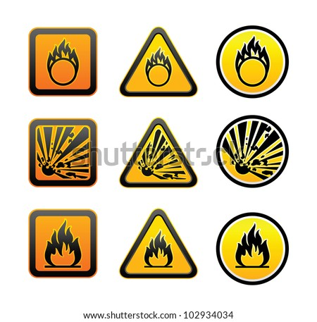 Hazard warning symbols set - stock vector
