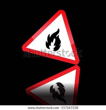 Hazard warning triangle highly flammable warning sign.eps10 - stock vector