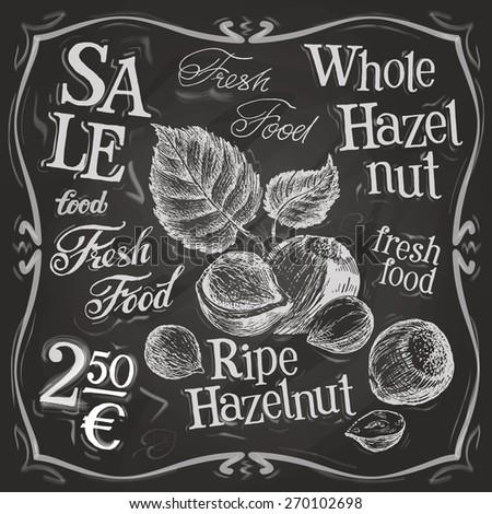hazelnut, walnut, nut vector logo design template. fresh food or menu board icon. - stock vector