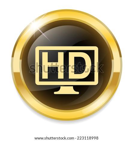 HD button - stock vector