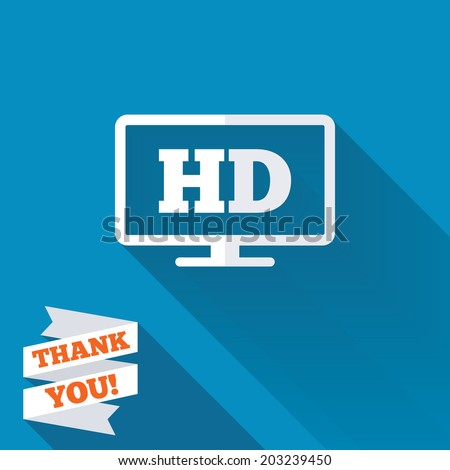 HD widescreen tv sign icon. High-definition symbol. White flat icon with long shadow. Paper ribbon label with Thank you text. Vector - stock vector