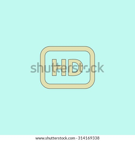 HD word button. Flat simple line icon. Retro color modern vector illustration pictogram. Collection concept symbol for infographic, logo and project - stock vector